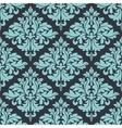 Blue on grey damask seamless pattern vector image