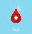 Donate blood bag on blue background vector image