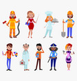 people different professions cute cartoon vector image