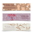 tailor horizontal banners template with tailor vector image
