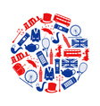 United Kingdom country theme symbols and icons in vector image