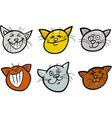 Cartoon funny cats heads set vector image