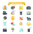 set of art icons in flat design with long shadows vector image