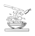 Cooking salad with fresh vegetables sketch vector image vector image