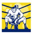 boxer sitting on corner vector image