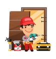 Carpenter Installs the Door vector image