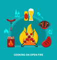 cooking on open fire vector image
