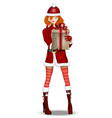 cute girl dressed as snow maiden with gift box vector image