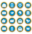email icons blue circle set vector image