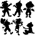 Silhouette clowns vector image