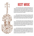 Violin with musical notes for arts template design vector image