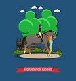 horseback riding in flat style vector image