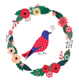 Beautiful floral wreath and blue bird vector image