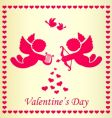 frame with cupid and heart vector image