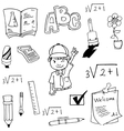 Doodle of school student and tools vector image