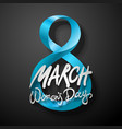 blue march 8 greeting card international womans vector image