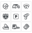 Set of Road Patrol Police Icons Cop Car vector image