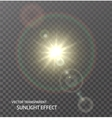 transparent sun sunlight with rays glow vector image