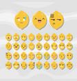 set of cute fruit smiley lemon emoticons vector image vector image