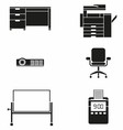 Office Furniture and Machine Icon Set vector image