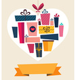 Retail gifts in heart vector image