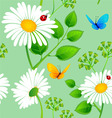 daisy pattern onblue backgr vector image vector image