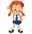 Happy girl in school uniform vector image vector image