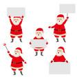 cartoon santa claus holding blank empty poster vector image