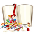 Children reading books together vector image