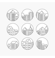 Linear city icons set vector image