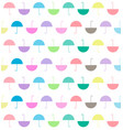 pattern of pastels color flat umbrellas on white vector image