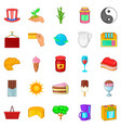 sweet drink icons set cartoon style vector image