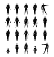 Full length front back human outlined silhouette vector image