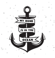 Vintage label with an anchor Apparel t-shirt vector image