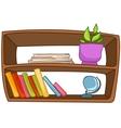 cartoon home furniture book shelf vector image vector image