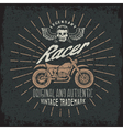racer grunge vintage print with motorcycle wings vector image