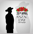 anzac day lest we forget silhouette military vector image