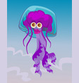 Cute happy smiling female jellyfish character vector image