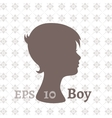 Dark silhouette profile of a young boy vector image