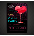 Disco cocktail party poster Happy valentines day vector image