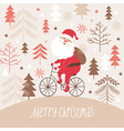 Santa claus rides a bicycle vector image