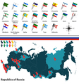 Republics of Russia with flags vector image