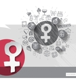 Hand drawn woman icons with icons background vector image vector image