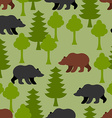 Bears in woods as a seamless pattern Grizzly and vector image