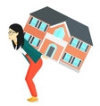 Woman carrying house vector image vector image