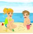brother and sister playing with sand at beach vector image