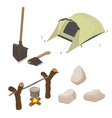 Set of objects on tourism travel Isometric vector image