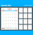 calendar planner design template for 2018 year vector image