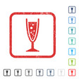 champagne glass icon rubber watermark vector image