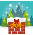 chimney house christmas icon vector image